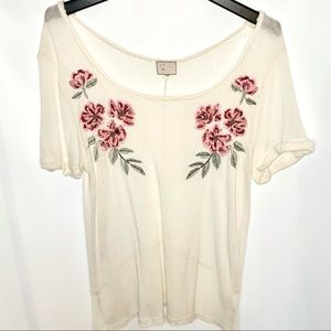 Anthropologie Rose Embroidered Linen Top